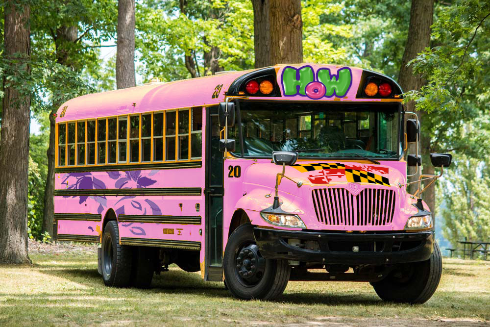 A mock-up of the Humanities on Wheels repurposed school bus, created by the MLW delegates.